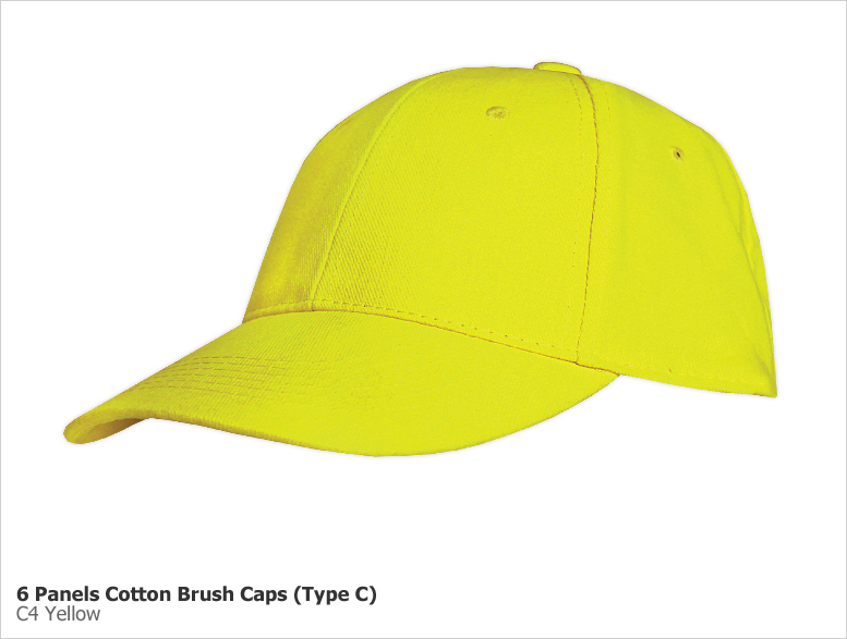 Type C - 6 Panels Cotton Brush Caps